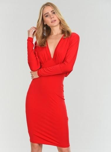 People By Fabrika Sırtı V Elbise Kırmızı